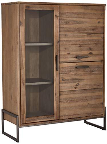 Ibbe Design Highboard Vitine Braun Lackiert Massiv Akazie Holz Vitrineschrank Mallorca mit Glastür, 100x40x130 cm