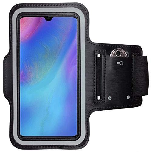 CoverKingz Sportarmband für Huawei P30 Lite - Armtasche mit Schlüsselfach P30 Lite - Sport Laufarmband Handy Armband Schwarz