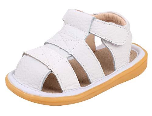 LONSOEN Toddler Boy Girl Summer Outdoor Closed-Toe Leather Sandals(Infant/Toddler),White KSD002 CN21