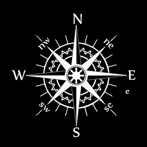 Wzjh Etiqueta engomada del Coche 3D 17cm X 17cm Compass Wind Rose Bardian Etiqueta engomada Divertida en calcomanías Vin de Vinilo de Vinilo Estilo de Coche (Color Name : Silver, Size : 1pcs)