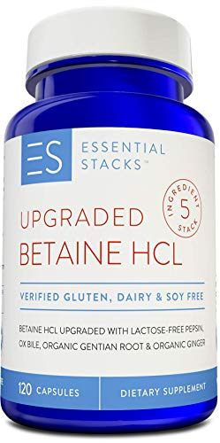 Essential Stacks Upgraded Betaine HCL With Pure Pepsin, Ox Bile Extract, Organic Gentian Bitters & Organic Ginger - Gluten Free, Dairy Free, Soy Free & Non-GMO with 3rd Party Verified Allergen Testing