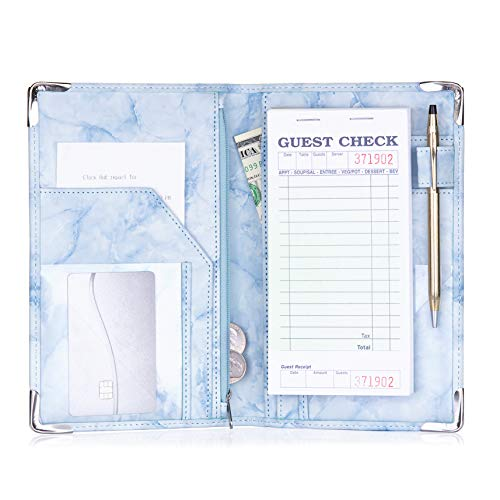 Sonic Server Marble Style Deluxe Server Book for Restaurant Waiter Waitress Waitstaff | Baby Blue Marble | 9 Pockets Includes Zipper Pouch with Pen Holder | Holds Guest Checks, Money, Order Pad