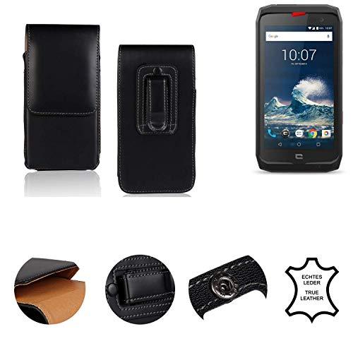 K-S-Trade® Holster Gürtel Tasche Kompatibel Mit Crosscall Action-X3 Handy Hülle Leder Schwarz, 1x