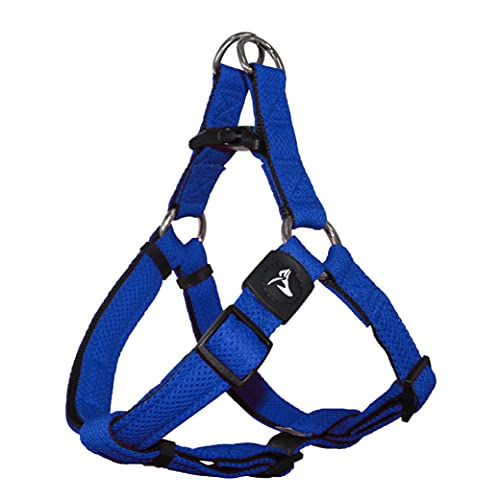 KRUZ PET KZA201-02L Step in Mesh Dog Harness, No Pull, Easy Walk, Quick Fit, Comfortable, Adjustable Pet Harnesses for Walking, Training, Small, Medium, Large Dogs - Blue - Large