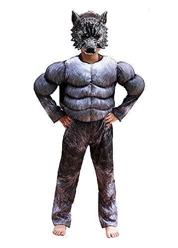 Werwolf kostüm - muskulöser torso - superheld und maske - werwolf - verkleidung für kinder - halloween - karneval - größe s - 4/5 jahre - originelle geschenkidee werewolf cosplay
