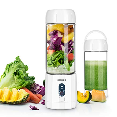 Portable Smoothie Blender, REDMOND USB Rechargeable Blender 4000mAh with 480ml Glass Travel Bottle, 6 Stainless Steel Blades, Battery Indicator for Shakes and Smoothies Outdoor (White)