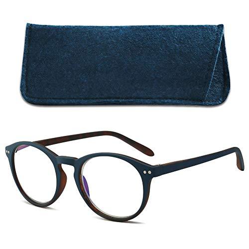 VEVESMUNDO Gafas de Lectura Anti Luz Azul con Funda Grandes Retro Redondas Portatiles Viaje Ordenador Presbicia Graduadas Moda Anteojos Leer para Hombre y Mujer (azul, 2.5)