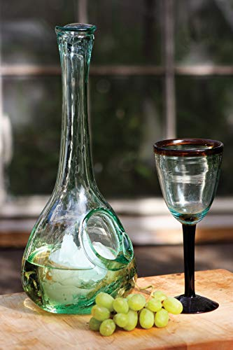 KALALOU CRL1230X White Wine Glass Decanter with Ice Pocket, One Size, Green