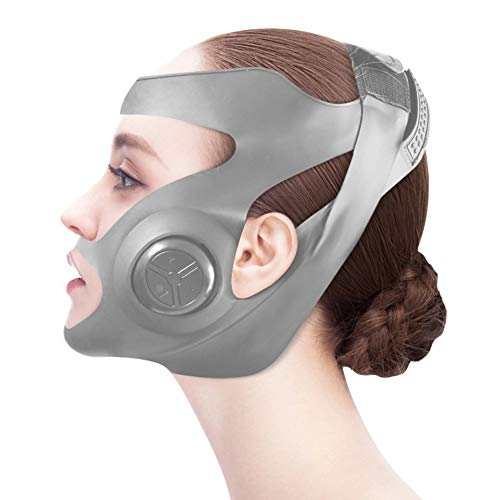 XWZ Máquina De Estiramiento Facial De Microcorriente EMS, Masajeador De Máscara De Mejillas Adelgazante De Cara Delgada En Forma De V Eléctrica, Máquina De Estiramiento Facial,Gris