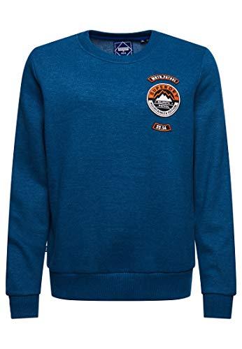 Superdry Damen Limited Edition Standard Patch Sweatshirt mit Rundhalsausschnitt Jeansblau Meliert 38