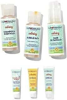 California Baby Calming Basics Tote- 6 piece calming kit | Shampoo | Body Wash | Bubble Bath | Hair-Detangler | Diaper Rash Ointment | Calendula Cream |