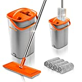 Worthland Flat Floor Mop and Bucket Set for Floor Cleaning, Hands Free Squeeze Mop Telescopic Stainless Steel Handle with 4 Washable and Reusable Microfiber Pads, Perfect for Home and Kitchen Cleaning