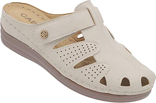 Clogs Damen Sabot Schuhe Sommer Sandalette Pantolette Nr. A6765 (beige, Numeric_39)