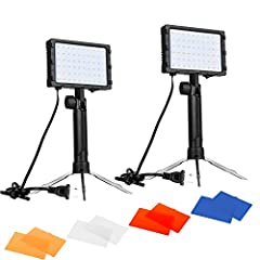 Contents: 2 x15w High Output Table Top LED Photography Light with Stand, 2 x Red Color Gel Filter, 2 x Blue Color Gel Filter 2 x Orange Color Gel Filter, 2 x White Color Gel Filter Ideal for Product Photography: Retractable bracket, hand-held use ava...