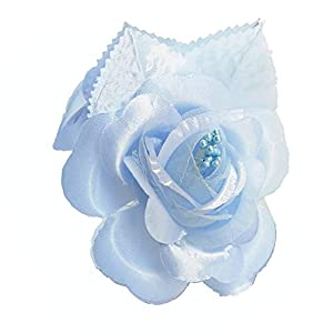 Silk Flower Arrangements 12 Silk Roses Wedding Favor Flower Corsage Pick - Light Blue