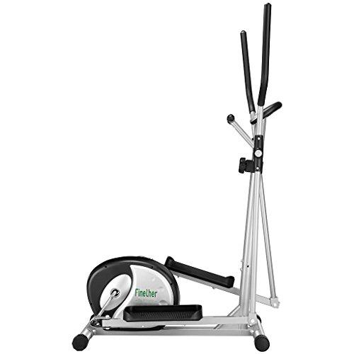 Finether Vélo Elliptique Fitness Gym Mixte Adulte Vélo d'appartement Trainer avec la Fréquence Cardiaque Ecrans LCD, Pouls à la Main, 8 Niveaux de Résistance, Capacité 120 kg