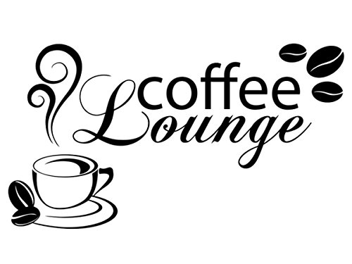Wandtattoo-bilder® Wandtattoo Coffee Lounge Nr 2 Kaffee Küche Esszimmer Wandtattoos Kaffeetasse Kaffeebohnen Farbe Schwarz, Größe 80x44