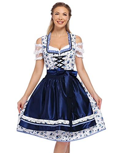 KOJOOIN Trachtenkleid Damen Dirndl Kurz mit Stickerei Exklusives Designer für Oktoberfest - DREI Teilig: Kleid, Bluse, Schürze Dunkelblau...