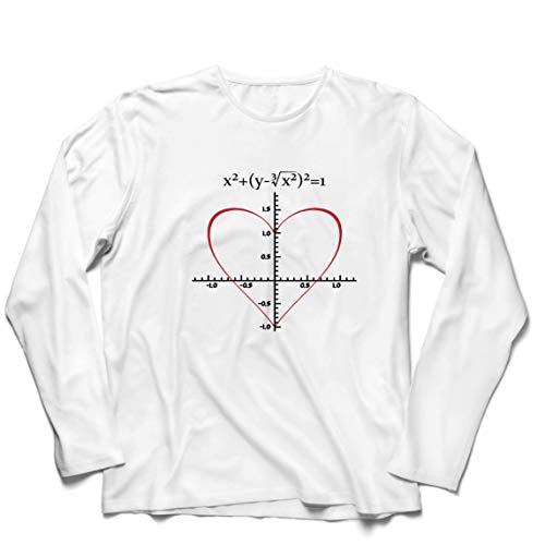 lepni.me Camiseta de Manga Larga para Hombre Fórmula de Matemáticas del Amor Ecuación matemática Regalo para el Profesor