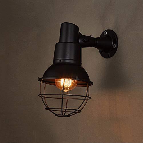 Industriële Loft Edison E27 1-licht wandlamp licht Retro Leer Birdcage lampenkap ijzer wandlamp restaurant bar schuur fabriek wandlamp zwart, D-B
