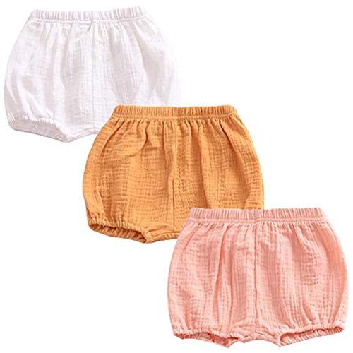 FAIRYRAIN 3 Pack of Baby Kinder Mädchen Jungen Baumwolle Unterwäsche Unterhosen Rüsche Hose Bloomer Shorts Baby Höschen Windelhöschen Kleinkinder Pumphose 6-12 Monate