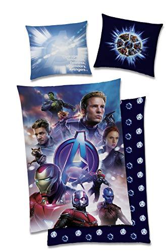 TexIdea Marvel Wende Bettwäsche-Set Avenger-s Endgame 135x200cm + 80x80cm, 100prozent Baumwolle Reißverschlus Kinder-Bettwäsche blau