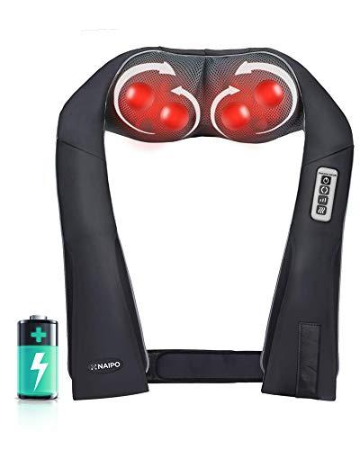 Naipo Kabelloses Elektromassagegerät Schulter- und Nackenmassagegerät mit Drehbaren 3D-Shiatsu-Massagerolle, Verlängeren Griffe, Wiederaufladbarer Batterie,Einstellbarer Intensität für Haus Büro Auto