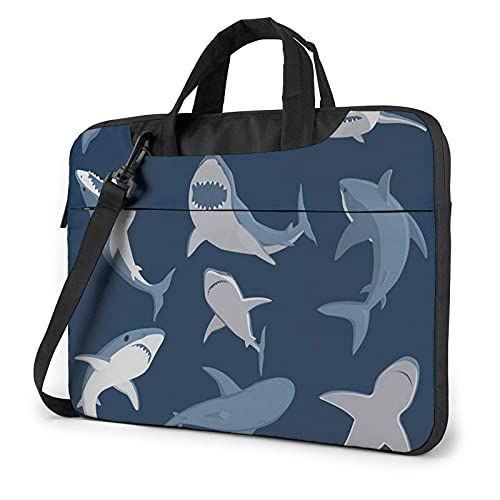 Bolsa para portátil de 13-15,6 Pulgadas Tiburón animal marino Bolso de Hombro para portátil Bolso de Hombro Elegante Ordenador Portátil
