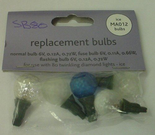 4 Clear/Blue Diamond Ball Replacement Bulbs 6v 0.12a 0.72w & 1 Fuse Bulb (SB80)
