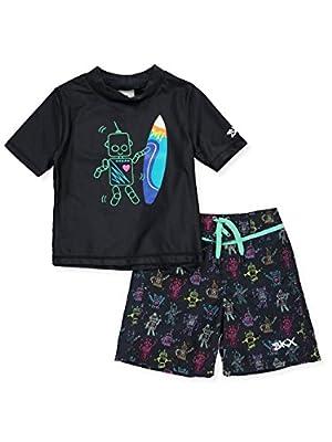 Skechers Boys' Swim Suit Set with Rashgaurd Swim Shirt (3T) Black