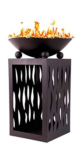 Mediablue Feuerschale auf Säule mit Holzfach ca. 45 x 45 x 68 cm