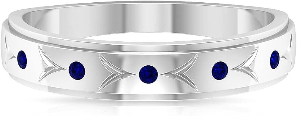 Engraved Gold Rings for Women, Gemstone Band Ring, Minimal Gold Ring, Unisex Gold Ring,14K White Gold
