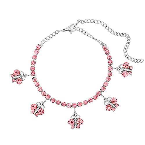 YFZCLYZAXET Jewellery Bracelets Bangle For Womens Crystal Charm Bracelets Women Pink Rhinestone Chain Bracelets Trendy Jewelry-010002Sl