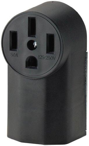 Eaton WD1212 50-Amp 3-Pole 4-Wire 125-Volt Surface Mount Range Power Receptacle, Black