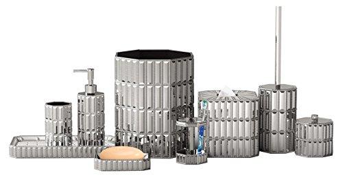 nu steel Chrome Glitz Resin Bath Accessory Set for Vanity Countertop,9 pcs Luxury Ensemble-Cotton Swab, Dish,Toothbrush Holder,Tumbler,soap Pump,Waste Basket,Tissue Box,Tray,Toilet Brush