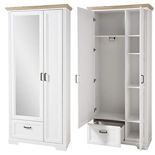 Lomadox Landhaus Garderobenschrank mit Spiegel in Pinie weiß mit Artisan Eiche