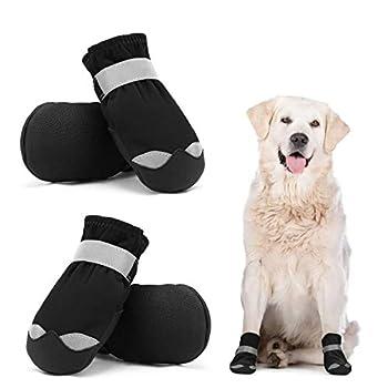 Dociote Chaussures Chien Imperméable Lot de 4, Bottes de Protection pour Chien avec Velcro Antidérapante Réfléchissante, Chaussures Résistantes pour Chiens de Taille Moyenne Grande Noir 5#