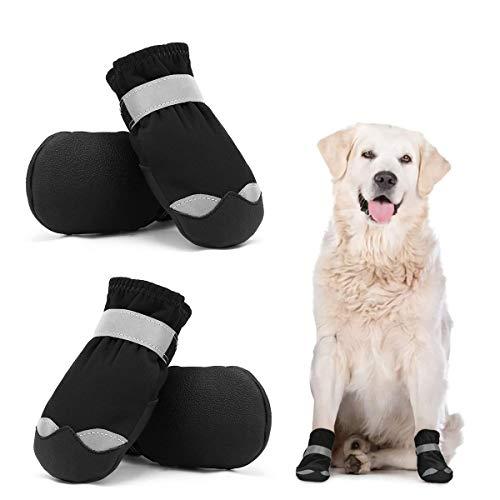Dociote wasserdichte Hundeschuhe pfotenschutz mit Anti-Rutsch Sohle, reflektierendem Riemen, Klettverschluss Schneeschuhe für mittelgroße große Hunde 4 Stück Schwarz 5#