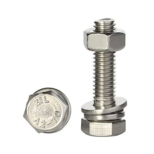 M8-1.25 x 35mm Hex Bolts, Nuts, Flat & Lock Washers Kits, Stainless Steel 18-8 (A2-70), Fully Threaded, 15 Sets