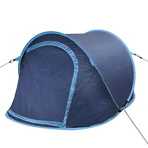 Lechnical Tente de Camping escamotable pour 2 Personnes, Tente de Plage de Camping légère avec Protection UV, Montage Facile et Rapide, Sac de Transport Compact, 215x125x90cm, Navy Blue/Light Blue