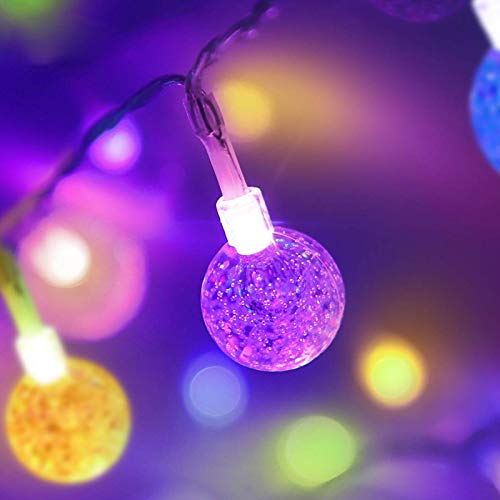 ColouredGlobe String LightsBattery Operated,1Pack 26.2FT 60 LED 16 Colour Changing Water Proof Crystal Ball Outdoor String Lightswith Remote Controlfor Home, Patio,Party, Christmas, Garden Decor