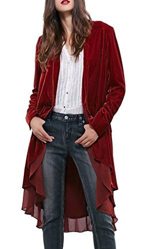 R.Vivimos Women Ruffled Asymmetric Long Velvet Blazers Coat Casual Jackets Medium WineRed