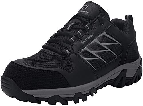 LARNMERN Sicherheitsschuhe Arbeitsschuhe Herren, Sicherheit Stahlkappe Stahlsohle Anti-Perforations Luftdurchlässige Schuhe (46 EU, Schwarz)