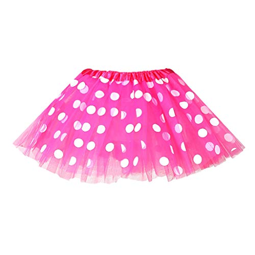 Lazzboy Kostüm Tütü Kleinkind Kinder Mädchen Baby Polka Dot Tutu Rock Tüll Ballett Outfits Minirock Pettiskirt Mit Petticoat Tanzkleid Unterrock Tüllrock(Pink,2-8 Years Old)
