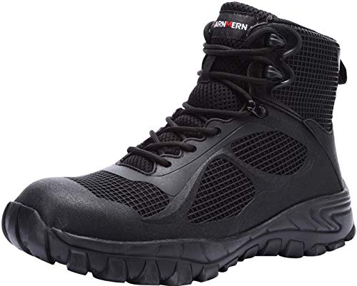 LARNMERN Zapatillas de Seguridad Hombres,L91189 SBP SRC Zapatos de Trabajo con Punta de Acero Reflectivo Transpirable Anti-Piercing 45,Negro SBP