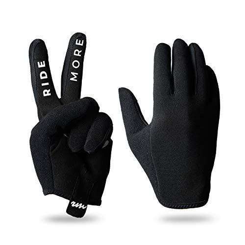 RideMore - Freestyle Fahrradhandschuhe für Herren | für BMX-, Roller-, MTB- und Radfahrer | Hochwertige, dünne Slip-On-Handschuhe mit starkem Grip und Touchscreen (M, Blck)