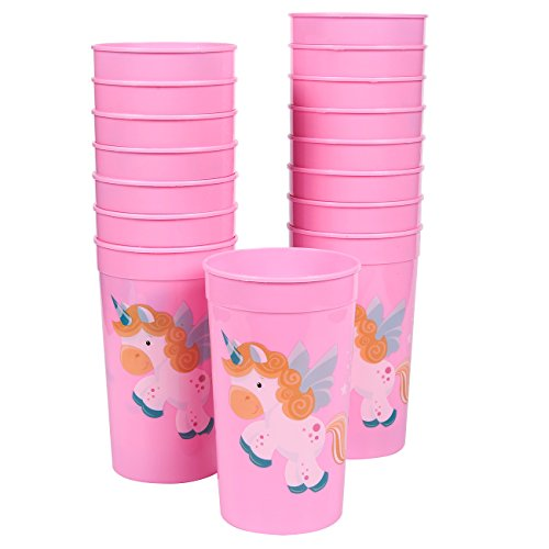 Blue Panda Unicorn Party Cups - 16-Pack Reusable Tumblers, 16 oz Pink Plastic Cups, Magic Unicorn Party Essentials, Unicorn Design, 3 x 5.1 x 3 inches