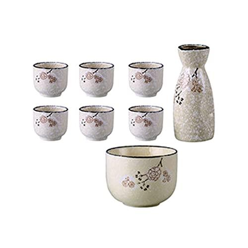 BaiJaC Taza de Sake Japonés, Juego de Sake de cerámica Japonesa, hogar Retro Chino pequeño Vino Copa de Vino Creativo Licor dispensador Fiesta Vino Vino Vino Taza de arroz Blanco