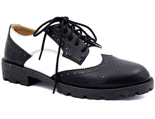 MaxMuxun Damen Oxford Schnürhalbschuhe Schwarz und Weiß 40