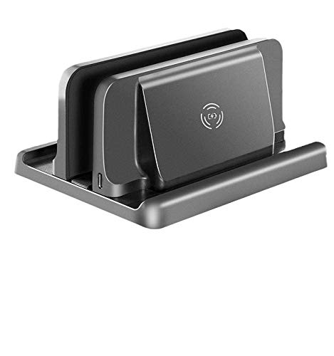 Vertical Laptop Stand with Wireless Charge for All MacBook/Chromebook/Surface/Dell/iPad Up to 14 Inch and cellphone